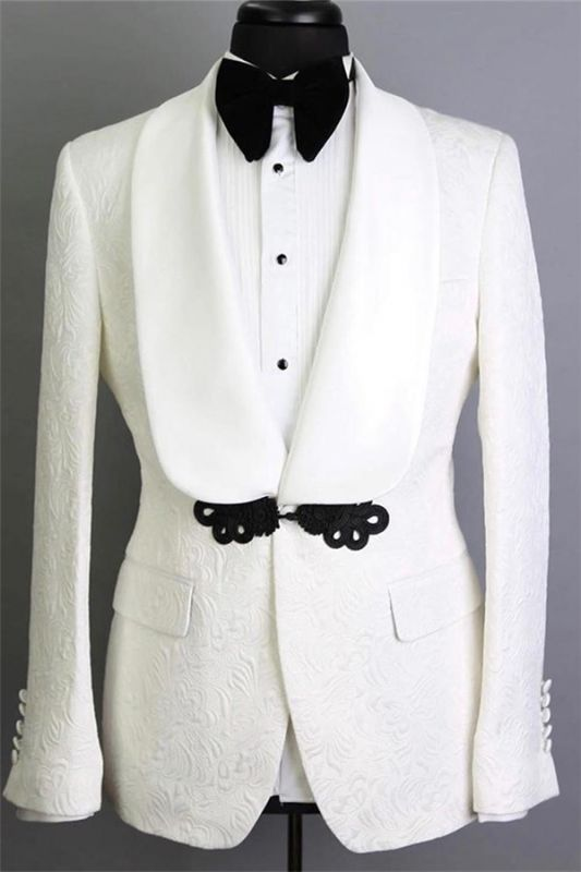White Shawl Lapel Tailored Jacquard Groom Suits | Elegant Slim Fit Tuxedos for Wedding 2 Pieces