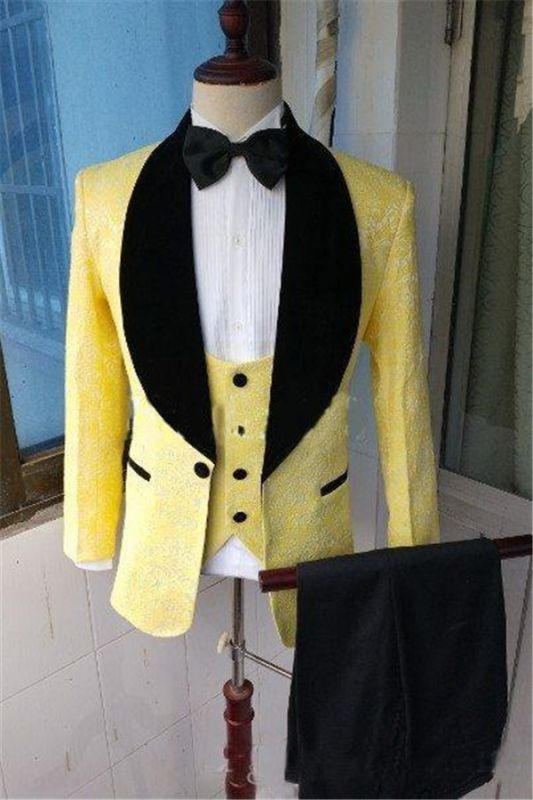 Yellow Slim Fit Lapel Shawl Prom Dress Suit | Bespoke Jacquard Men Formal Party Blazer