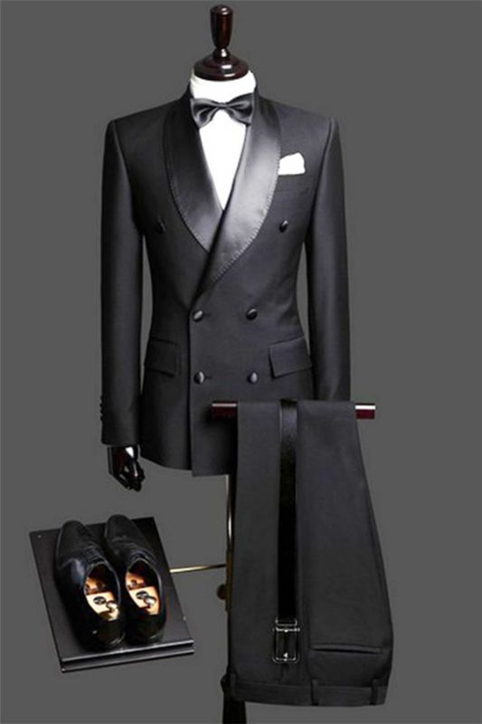 Black Double Breast Wedding Suits Tuxedos | Satin Lapel 2 Pieces(Jacket pants) for wedding/prom