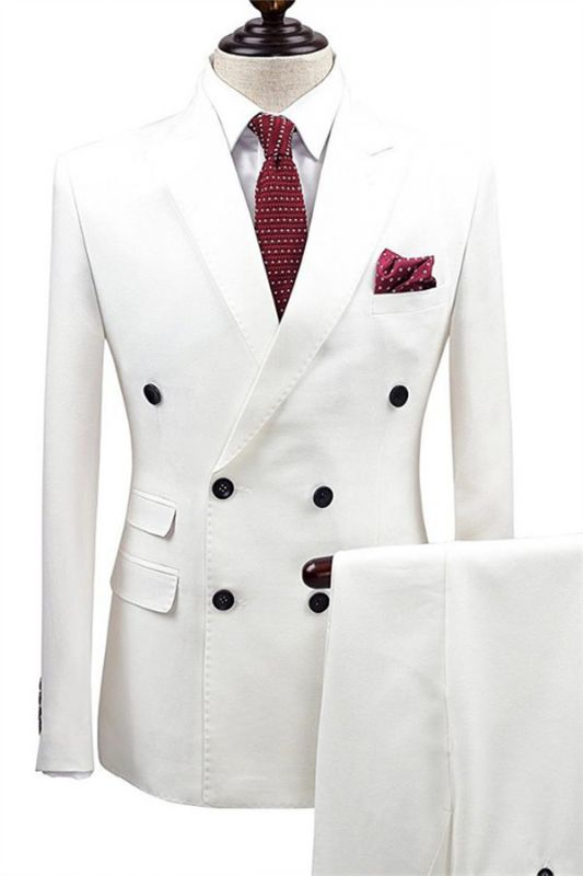 White Bouble Breast Wedding Dress Suits | Men Groom Tuxedos with 2 Pieces