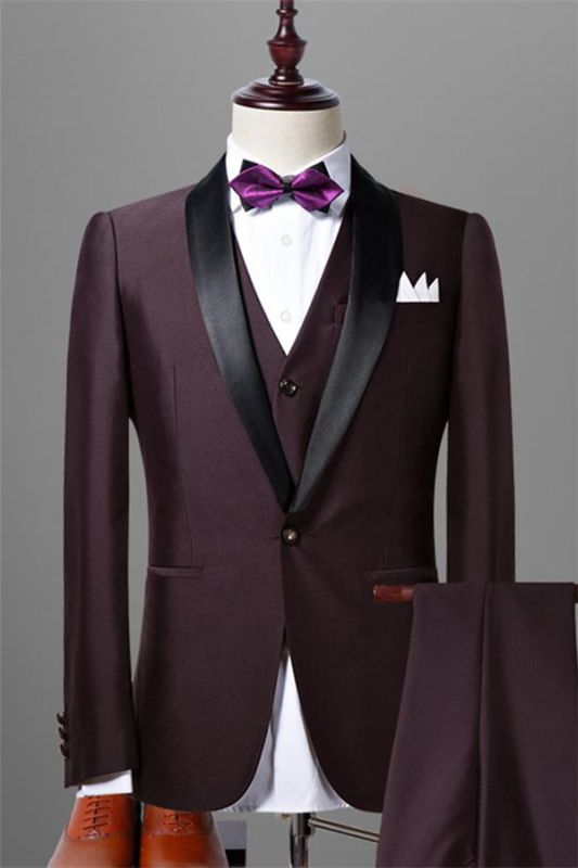 Solid Dark Maroon Wedding Tuxedos for Men | Slim Fit 3 Pieces Dress Prom Suits