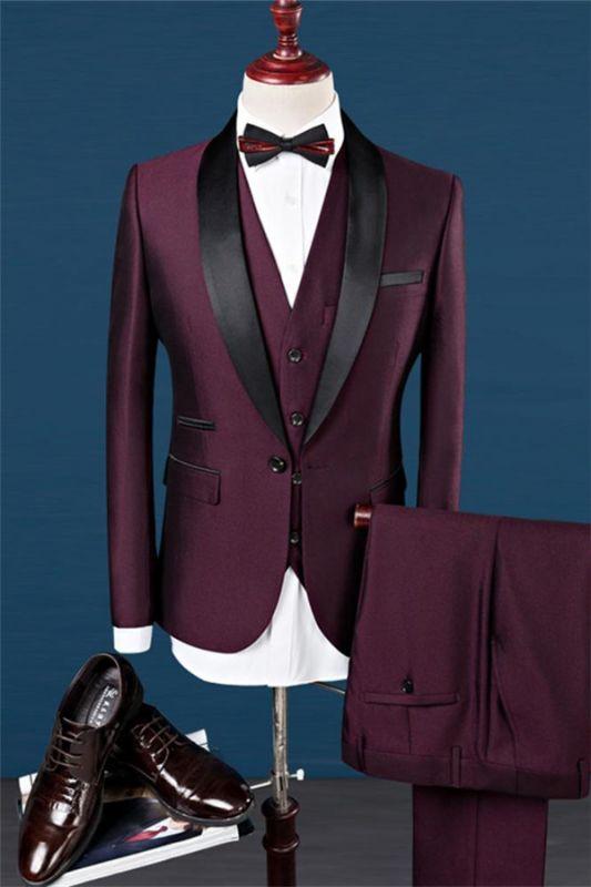Burgundy Slim Fit Shawl Lapel Groomsmen Suit | Fashion Black Trim Tuxedo Mens's 3 Pieces Suits