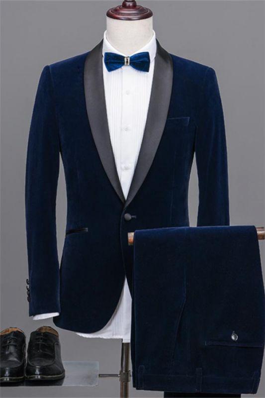 Navy Blue Shawl Lapel Velvet Prom Suits | 2020 Best Man Tuxedos 2 Pieces