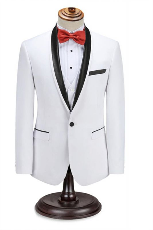 Elegant Men's Two Piece Wedding Groom Suits | Slim Fit Shawl White Tuxedo