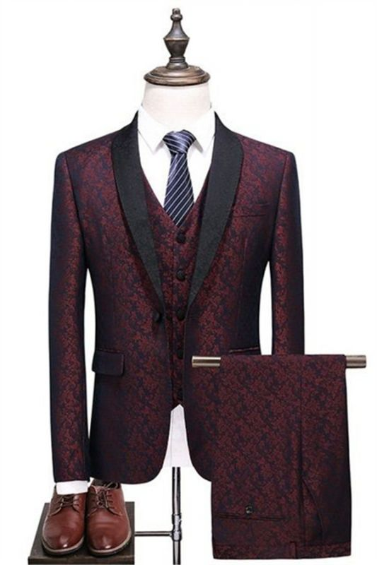 Fashion Men's Suits Burgundy Check Design Prom Suits   Three Pieces One Button Formal Tuxedos