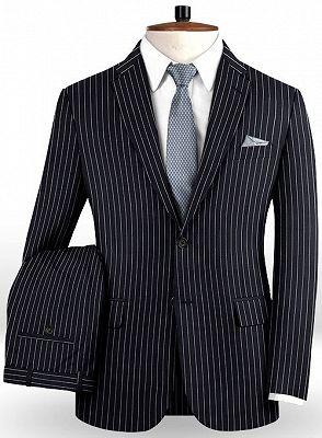 Dark Blue Striped Formal Men Suits Online | Business Slim Fit Tuxedo_2