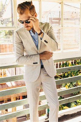 Latest Ivory Linen Men Suits for Wedding | 2 Piece Slim Groom Prom Men Tuxedo_2