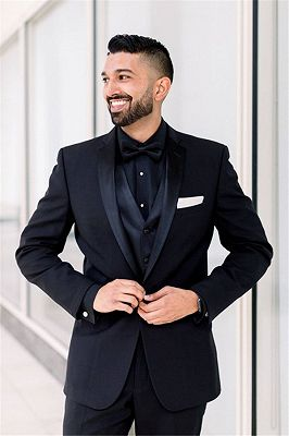 Tailored Black Men Suits for Wedding | One Button Groomsmen Suits Shawl Lapel Best Man Blazers_2
