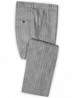 Gray Striped Linen Men Suits Online | Notched Lapel Tuxedo with Two Pieces_3