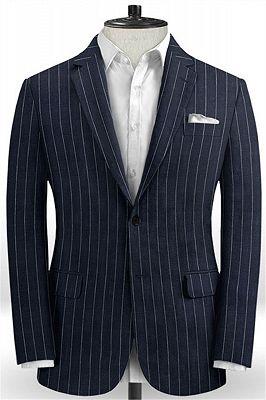 Marvin Dark Blue Linen Casual Tuxedo for Men | Striped Slim Fit Men Suits_1