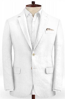 Summer White 2 Piece Linen Men Suit | Cutsom Slim Fit Groom Prom Wedding Suit Set_1