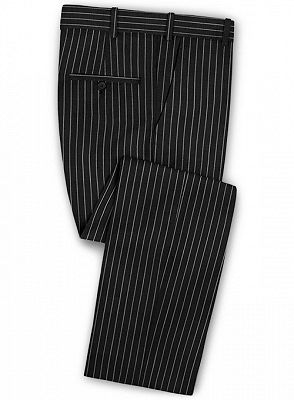 New Black Business Men Suits   Wedding Two Piece Striped Groom Tuxedos_3