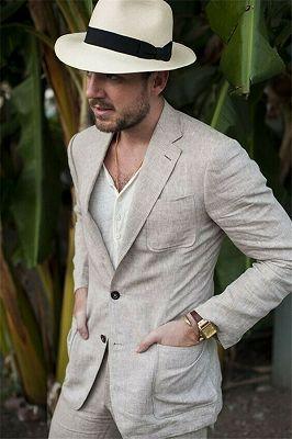 Summer Fashion Khaki Linen Suit For Men | Casual Prom Dinner Groom Wedding Tuxeds_1