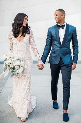 Fashionable Shawl Lapel Dark Green Groom Tuxedos | Handsome Fit Best Man Suit Wedding Mens Suit_1