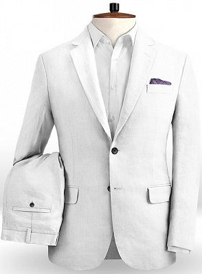 Linen for Summer White Groom Tuxedos | Notch Lapel Men Party Prom Business Suits_2