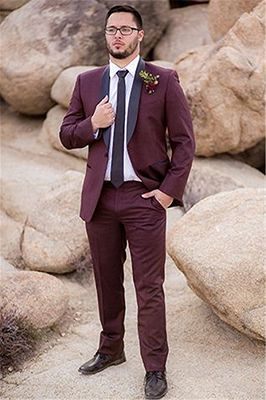 Handsome Burgundy Mens Suit Groom Suit | Wedding Suits For Best Men Slim Fit Groom Tuxedos_2