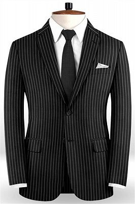 New Black Business Men Suits   Wedding Two Piece Striped Groom Tuxedos_1
