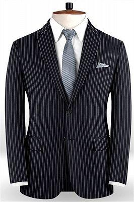 Dark Blue Striped Formal Men Suits Online | Business Slim Fit Tuxedo_1
