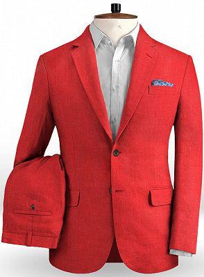 Red Wedding Groom Men Suits | 2 Pieces Jackt Pants Vest Tuxedo with Notched Lapel_2