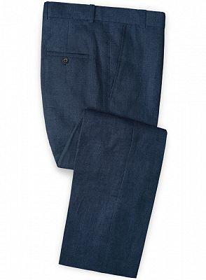 Dark Blue Linen Beach Wedding Tuxedos | Men Suits for Wedding Man Outfit 2 Piece_3