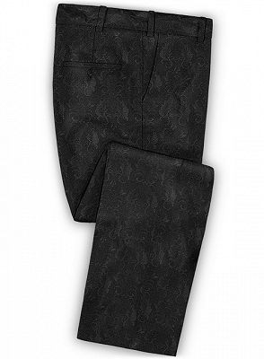 Black Jacquard Prom Outfits Men Suits | Slim Fit Tuxedo with Two Pieces_3