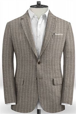 Fashion Striped Slim Fit Men Suits Online   Newest Two Piece Business Tuxedo_1