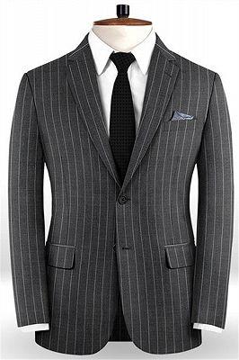 New Smoking Gray Men Suits For Business | Modern Striped Notch Lapel Tuxedo Online_1