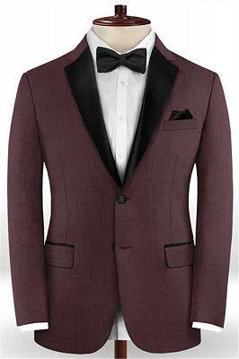 Classic Burgundy Two Button Men Suit | 2 Pieces Business Men Wedding Suits_1