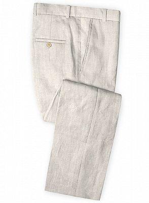 Hot Men Slim Fit Linen Groom Suits   Business Suits Solid Color Slim Tuxedo_3