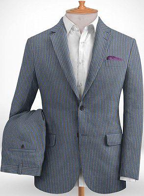 Blue Notched Lapel Men Suits for Sale | Modern Slim Fit Striped Tuxedo_2