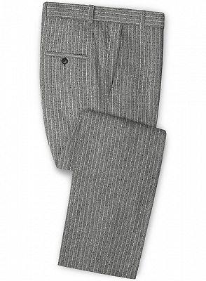Grey Linen Men Suits | Two Pieces Striped Tuxedo_3
