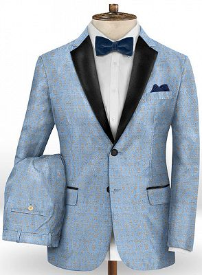 Sky Blue Fashionable Men Suits Online | New Arrival Printed Prom Suits_2