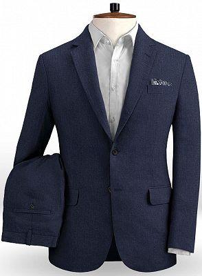 Dark Blue Linen Beach Groom Suits | Slim Fit Wedding Tuxedo_2