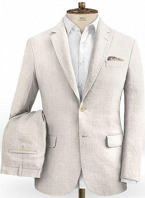 Hot Men Slim Fit Linen Groom Suits   Business Suits Solid Color Slim Tuxedo_2