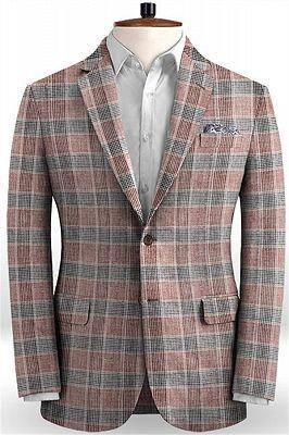 Grid Jacket Tuxedo   Business Notch Lapel Men Suits_1