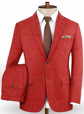 Summer Red Linen Men Suits Set | 2 Piece Prom Wear Tuxedo for Men_2