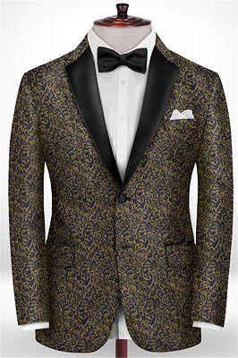 Gold Jacquard Prom Outfits Tuxedo | Two Pieces Notch Lapel Men Suits for Prom_1