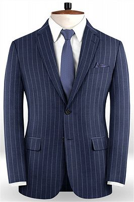 Dark Blue Business Formal Suits | Fashion Two Buttons Striped Tuxedo Online_1