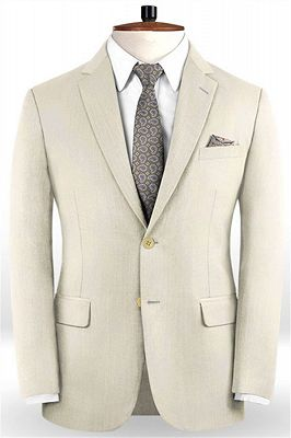 Off White Business Men Suits | Bespoke Classic Wedding Suits For Men_1