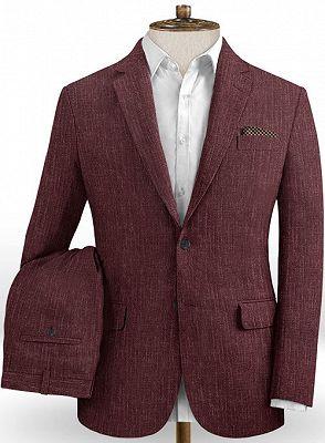 Burgundy Men Suits Online   Notched Lapel Linen Tuxedo Online_2