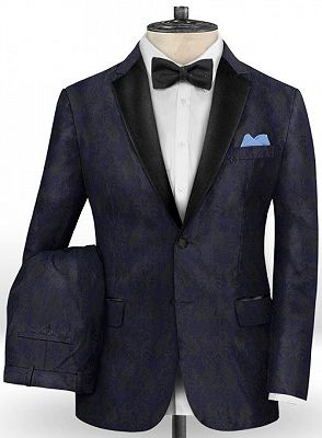 Navy Blue Jacquard Tuxedo for Prom | Slim Fit Two Buttons Men Suits_2