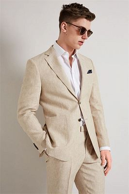 Newest Notched Lapel Wedding Tuxedos for Groomsmen | Summer Prom Linen Men Suits 2 Piece_1