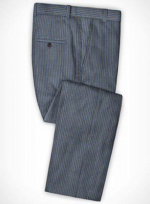 Blue Notched Lapel Men Suits for Sale | Modern Slim Fit Striped Tuxedo_3