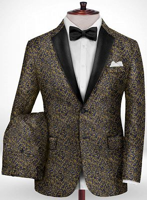 Gold Jacquard Prom Outfits Tuxedo | Two Pieces Notch Lapel Men Suits for Prom_2