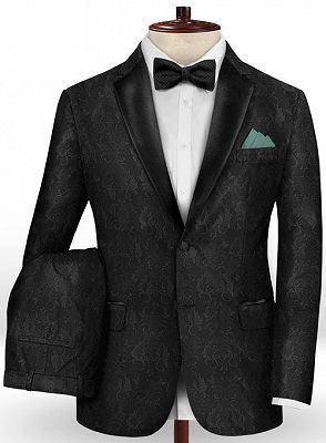 Black Jacquard Prom Outfits Men Suits | Slim Fit Tuxedo with Two Pieces_2