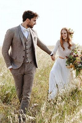 Khaki Linen Summer Beach Mens Classic Suits | 2020 Groom Wedding Tuxedos with 3 Pieces_5