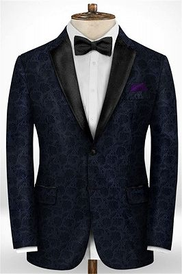 Black Jacquard Prom Men Suits   Fashion Slim Fit Tuxedo with Two Pieces_1