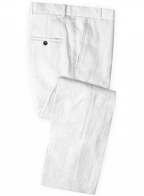 Linen for Summer White Groom Tuxedos | Notch Lapel Men Party Prom Business Suits_3