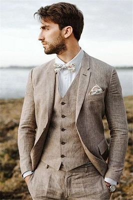 Khaki Linen Summer Beach Mens Classic Suits | 2020 Groom Wedding Tuxedos with 3 Pieces_3