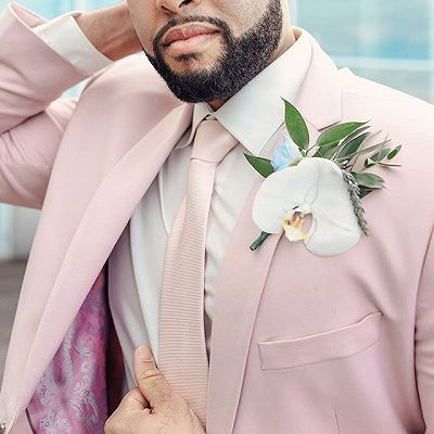 Pink Notched Lapel Mens Suits For Groom Tuxedos   Party Prom Tuxedo with 2 Pieces_4